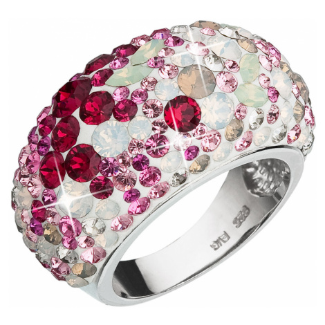 Evolution Group Stříbrný prsten s krystaly Swarovski mix barev červená 35028.3