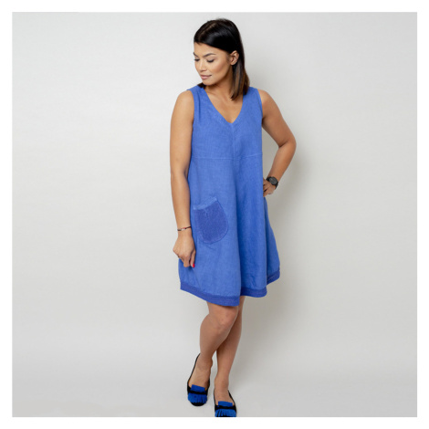 Krátké modré šaty s kapsičkou 10797 Willsoor