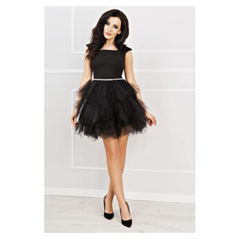 Mini šaty SANDRA bez rukávů s hladkým topem a tylovou sukní s volánky