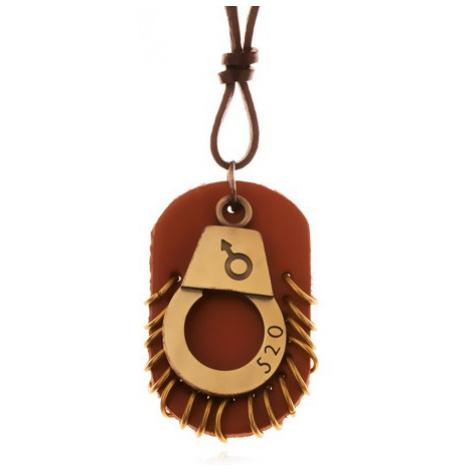 Kožený náhrdelník - nastavitelný, pouta s číslem, hnědá známka s kruhy Šperky eshop