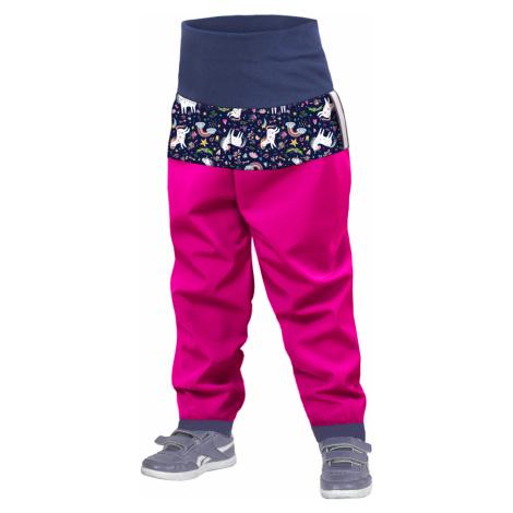 Batolecí softshellové kalhoty UNUO bez zateplení, Fuchsiová, Jednorožci
