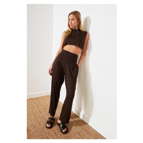 Trendyol Dark Brown High Waist Pleated Trousers
