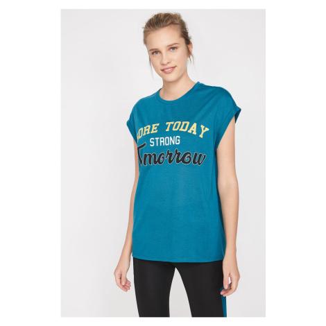 Koton Women's Green Letter Printed T-Shirt
