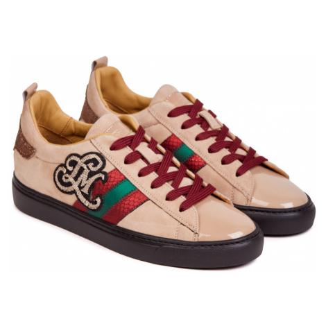 Tenisky La Martina Woman Shoes Paint - Suede Leather - Hnědá