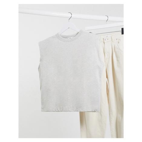 Mango padded shoulder sleeveless top in grey marl-White