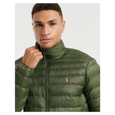 Polo Ralph Lauren player logo recycled nylon puffer jacket in olive green