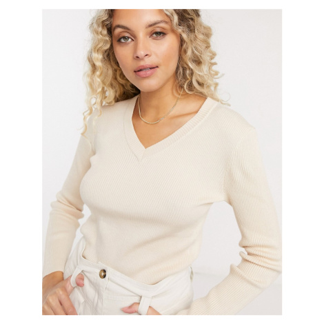 Gianni Feraud v neck jumper in oatmeal-Cream Féraud