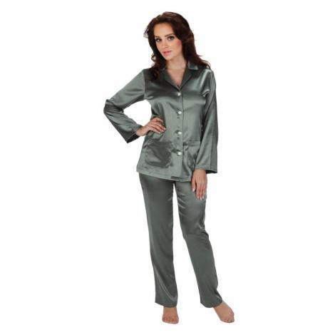Dámské saténové pyžamo Classic dlouhé šedé De Lafense