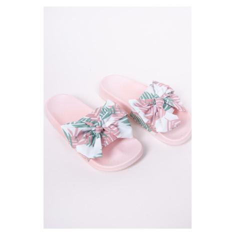 Dámská nazouvací obuv s mašlí OF-035 růžový YO!