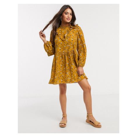 ASOS DESIGN frill neck detail smock mini dress in mustard floral print-Multi