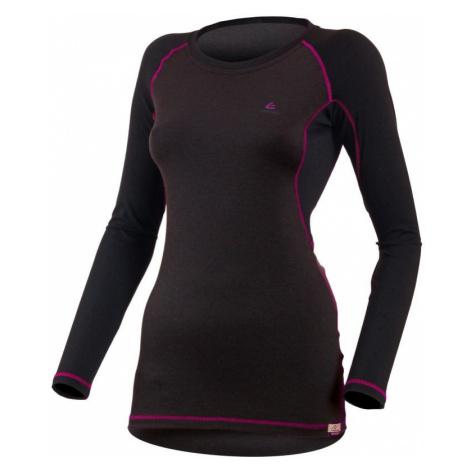 Dámské vlněné Merino triko DITA 160g - růžovo-černé Lasting