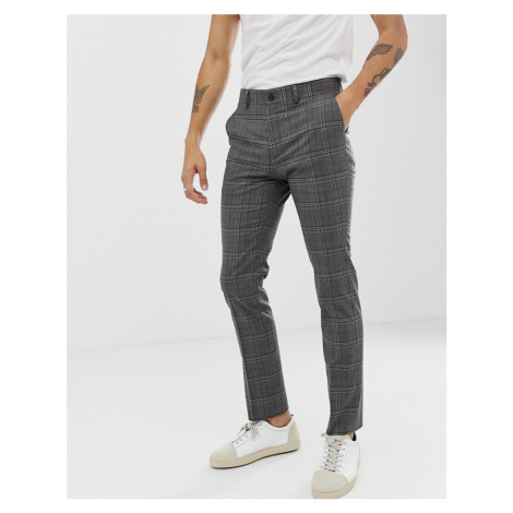 New Look skinny fit suit trousers in grey check