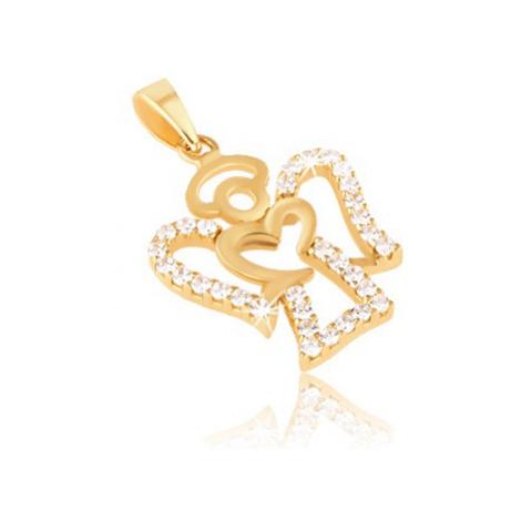 Přívěsek ze žlutého zlata 14K - kontura anděla, čiré kulaté zirkony Šperky eshop