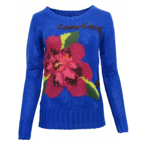 Modrý svetr s květinou Desigual
