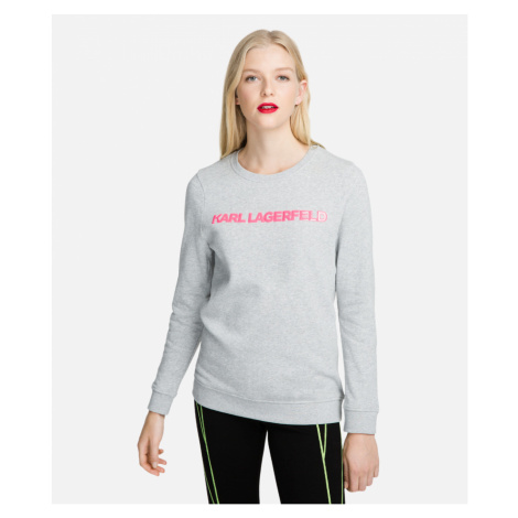 Mikina Karl Lagerfeld Neon Lights Logo Sweatshirt - Šedá