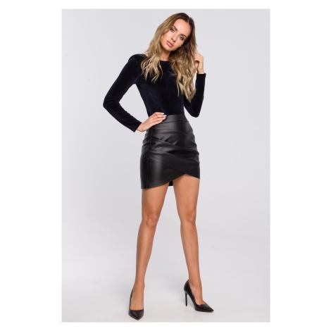 Mini sukně z umělé kůže asymetrická sukně s nabíráním