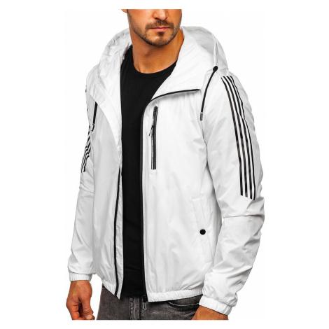 Bílá pánská přechodová sportovní bunda s kapucí Bolf 6172 Nature