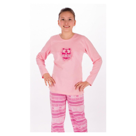 Dětské pyžamo dlouhé Sovička, lososová