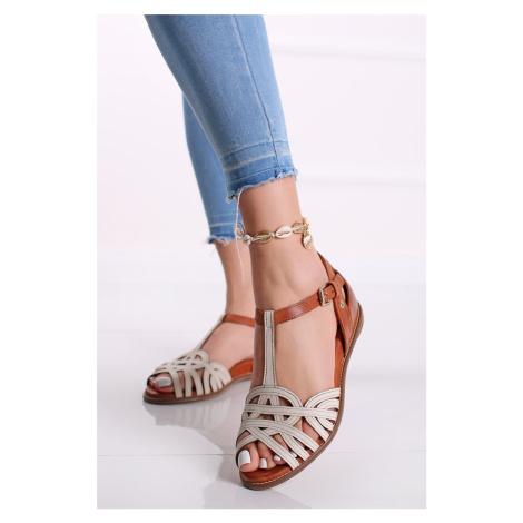Bílo-hnědé nízké kožené sandály Talavera Pikolinos