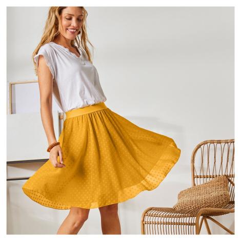Blancheporte Krátká sukně s výšivkou mangová