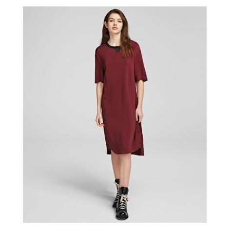 Šaty Karl Lagerfeld Dress W/ Snap Sides - Červená