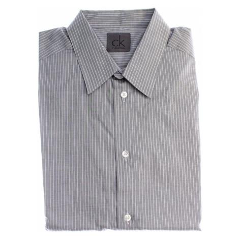 Calvin Klein pánská šedá košile s bílými proužky