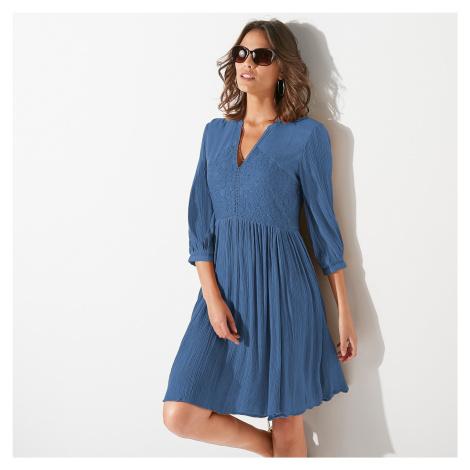 Blancheporte Šaty s krajkovými detaily modrošedá