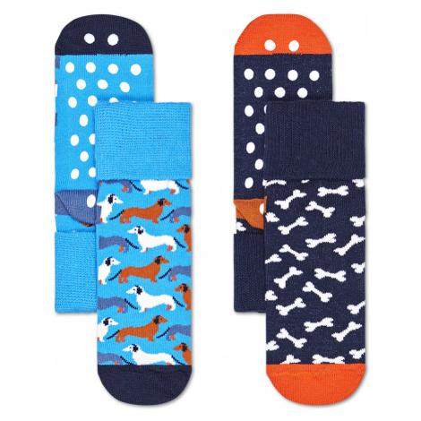 2-Pack Kids Dog Anti-Slip Socks Happy Socks