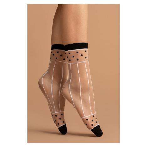 Černo-bílé ponožky Spicy 15DEN Fiore