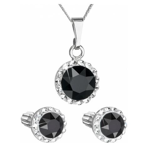 Sada šperků s krystaly Swarovski náušnice a přívěsek černé kulaté 39352.3 Victum