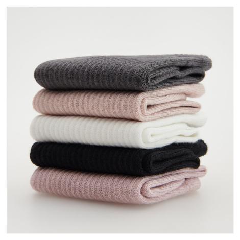 Reserved - Sada 5 párů ponožek s vysokým podílem bavlny - Krémová