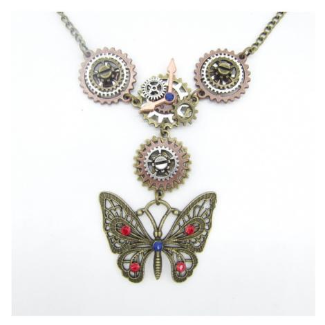 SteamPunk náhrdelník Motýl Tik Tak