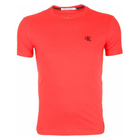 Pánské červené tričko s malým vyšitým logem Calvin Klein