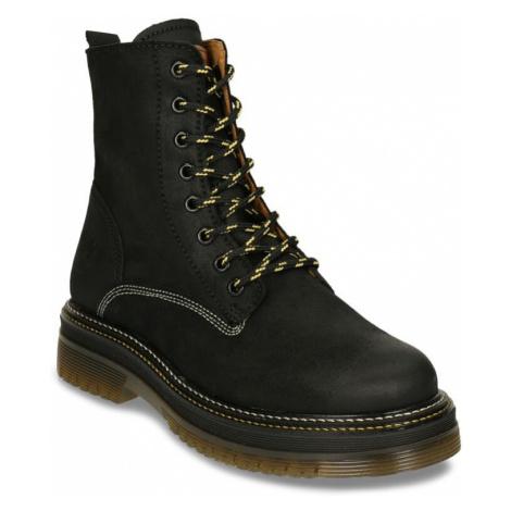 Černá dámská kožená šněrovací kotníková obuv Weinbrenner