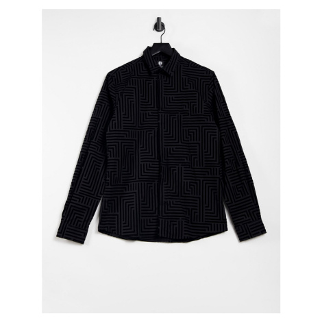 Twisted Tailor skinny shirt with geo flock in black