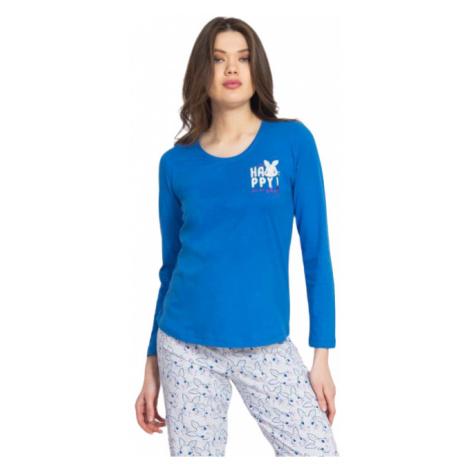 Dámské pyžamo dlouhé Vienetta Secret Králík Happy | modrá