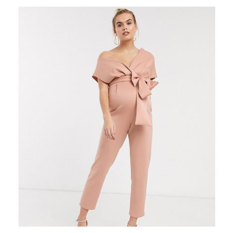 ASOS DESIGN maternity fallen shoulder scuba jumpsuit in blush-Pink