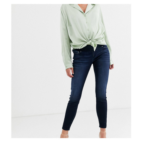 ASOS DESIGN Maternity Ridley high waisted skinny jeans in blackened blue wash with under the bum