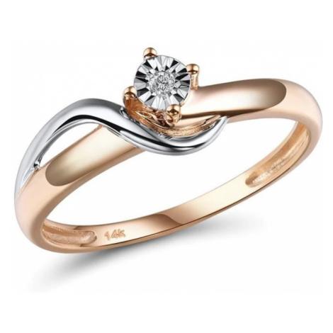 Klasický zásnubní prsten dvoubarevný s čirým diamantem