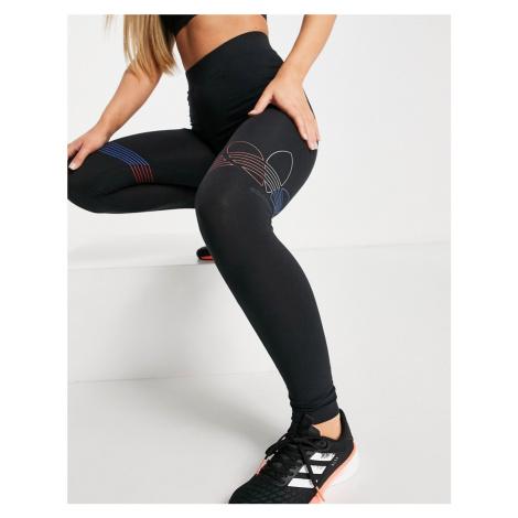 Adidas Originals Tricolor trefoil large logo leggings in black