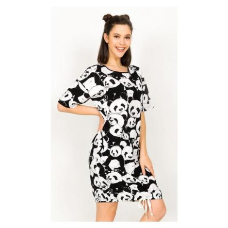 Dámské domácí šaty s krátkým rukávem Vienetta Secret Velká panda   černá