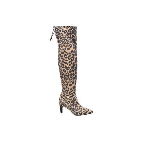 Hnědé kozačky nad kolena Catwalk se zvířecím vzorem