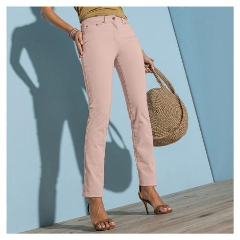Blancheporte Rovné strečové kalhoty béžovorůžová