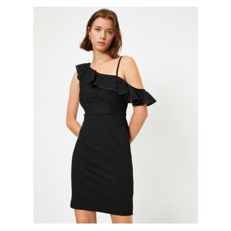 Koton Women's Black One-Shoulder Lace Dress