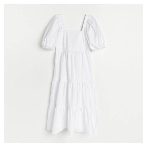Reserved - Šaty s balonovými rukávy - Bílá