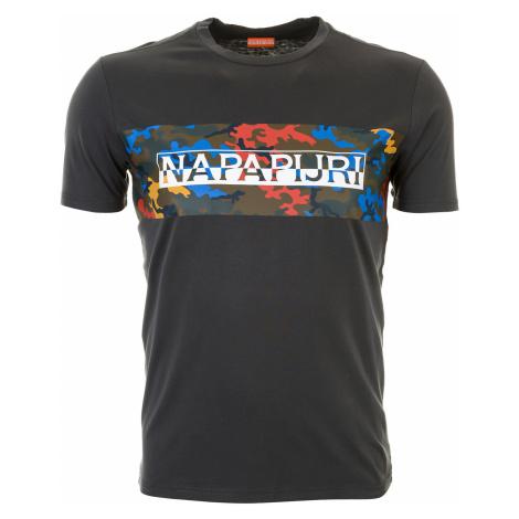 Pánské tmavě šedé tričko Napapijri s maskáčovým pruhem