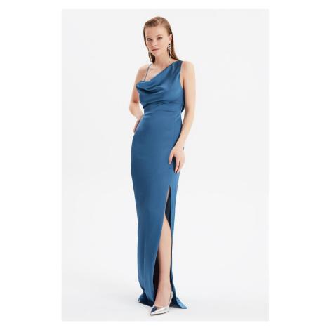 Trendyol Navy Blue Back Detailed Evening Dress & Graduation Gown