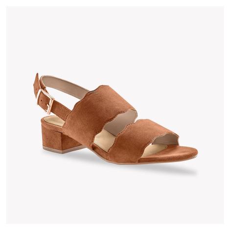 Blancheporte Sandály na podpatku, kožená useň, karamelové karamelová