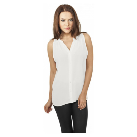 Ladies Sleeveless Chiffon Blouse - offwhite Urban Classics