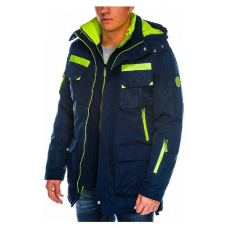 Ombre Clothing Granátová pánská zimní bunda c379
